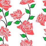 Mooi naadloos behang met roze bloemen stock illustratie