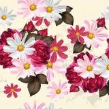Mooi naadloos behangpatroon met bloemen Stock Foto's