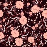 Mooi naadloos bloemenpatroon in de heldere roze en tonen van Bourgondië royalty-vrije illustratie