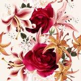Mooi naadloos bloemenpatroon met rozen in waterverfstijl Royalty-vrije Stock Fotografie