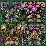 Mooi naadloos die behang met exotische bloemen, tropische bladeren, magische vogel en roze flamingo voor tapijt, stof, textiel wo royalty-vrije illustratie
