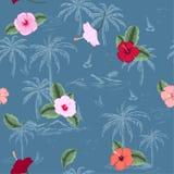 Mooi naadloos eilandpatroon op blauwe oceaanachtergrond land royalty-vrije illustratie