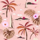 Mooi naadloos eilandpatroon op roze achtergrond Stock Fotografie