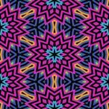 Mooi naadloos mozaïek bloemenpatroon met zwarte lijnen stock illustratie