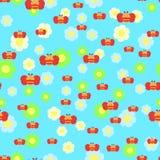 Mooi naadloos patroon met bijen en bloemen Stock Afbeeldingen