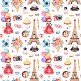 Mooi naadloos patroon met de toren van Eiffel vector illustratie