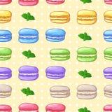 Mooi naadloos patroon met Frans dessert Stock Afbeelding