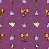 Mooi naadloos patroon met hand-drawn bogen, kronen, en diamant royalty-vrije illustratie