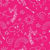 Mooi naadloos patroon met hand-drawn eenhoorns en krabbel royalty-vrije illustratie