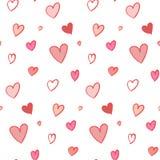 Mooi naadloos patroon met hand getrokken harten Royalty-vrije Stock Fotografie