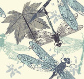 Mooi naadloos patroon met libellen, esdoornbladeren en DE Stock Fotografie