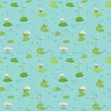 Mooi Naadloos Patroon met Water Lillies, gebruik voor Babyachtergrond, Textieldrukken, Dekking, Behang, Affiches stock illustratie
