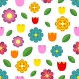 Mooi naadloos patroon van kleurrijke bloemen - tulpen, kamille, madeliefje en bladeren stock illustratie