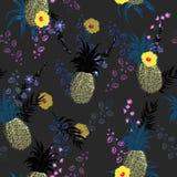 Mooi naadloos vector bloemen de drukpatroon van de de Zomer donker nacht Royalty-vrije Stock Afbeelding