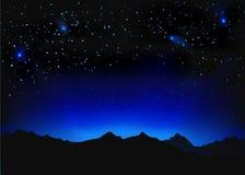 Mooi nacht ruimtelandschap Stock Foto's