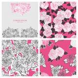 Mooi nam het malplaatje van het bloemenhuwelijk en patroonontwerpset toe royalty-vrije illustratie