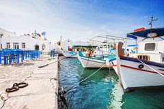 Mooi Naousa-dorp, Paros-eiland, Cycladen, Griekenland Royalty-vrije Stock Afbeeldingen