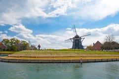 Mooi Nederlands windmolen Typisch landschap in Ja Stock Afbeeldingen