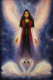 Mooi olieverfschilderij van een engelenvrouw met stralende vleugels stock illustratie