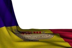 Mooi om het even welke 3d illustratie van de vakantievlag - het geïsoleerde model van de vlag van Andorra hangt in hoek op wit me stock illustratie