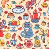 Mooi ontbijt naadloos patroon Stock Afbeeldingen