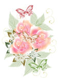 Mooi ontwerp met rozenboeket Stock Foto