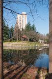 Mooi openbaar park in de stad in de winter Stock Foto