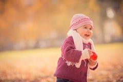 Mooi openlucht de herfstportret van aanbiddelijk peutermeisje Stock Afbeelding