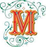 Mooi ornament, Brief M Stock Foto