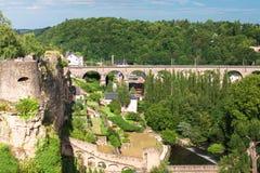 Mooi oud deel van de stad van Luxemburg Het Grote Hertogdom van de staat in Westelijk Europa stock afbeelding