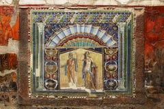 Mooi oud mozaïek van Herculaneum-Fresko van Neptunus royalty-vrije stock fotografie