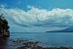 mooi overweldigend tropisch paradijs ondiep vreedzaam oceaan overzees kust wit zandig strand met regenwoudwildernis stock afbeeldingen