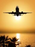 Mooi overzees mening en vliegtuig Stock Foto's