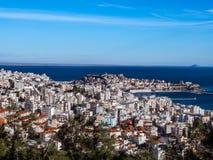 Mooi overzie schot van Kavala, Griekenland royalty-vrije stock afbeelding