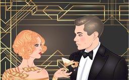 Mooi paar in art decostijl Retro manier: glamourmens a royalty-vrije illustratie