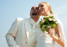 Mooi paar bij het huwelijk Stock Foto's