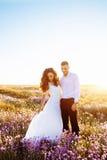 Mooi paar in gebied, Minnaars of jonggehuwde het stellen op zonsondergang met perfecte hemel Royalty-vrije Stock Foto
