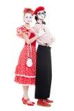 Mooi paar in liefde. geïsoleerdi op wit Stock Fotografie