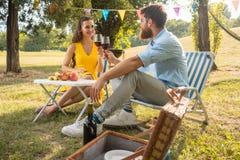 Mooi paar in liefde het roosteren met rode wijn tijdens romantische picknick stock afbeelding