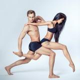 Mooi paar van dansers Stock Foto's