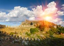Mooi panorama van Alanya-kasteel bij zonneschijn Stock Foto