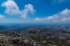 Mooi panorama van de bergen van gr. 221 Tramuntana, Mallorca, Spanje Royalty-vrije Stock Foto's