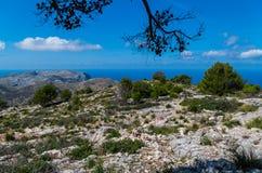 Mooi panorama van de bergen van gr. 221 Tramuntana, Mallorca, Spanje Royalty-vrije Stock Afbeeldingen