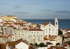 Mooi panorama van de oude stad van Lissabon Stock Foto