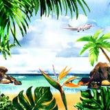 Mooi paradijs tropisch eiland met zandig strand, palmen, rotsen, vliegend vliegtuig op hemel, de zomertijd, vakantie royalty-vrije illustratie