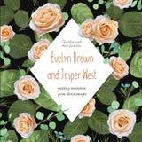 Mooi patroon voor de bloemenkaart van de waterverfgroet, huwelijk i Stock Foto's