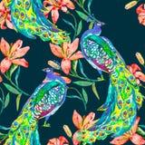 Mooi pauwpatroon Vector Pauwen en lelie Royalty-vrije Stock Afbeeldingen