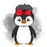 Mooi pinguïnmeisje met boog op hoofd Vector illustratie Stock Afbeeldingen