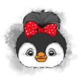 Mooi pinguïnmeisje met boog op hoofd Vector illustratie Stock Fotografie
