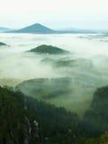 Mooi platteland van het park van Tsjechisch-Saksen Zwitserland Zachte mist boven dorpskerk De warme strijd van zonstralen met kou Stock Afbeelding
